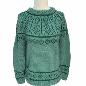 Handknit Far Isle Sweater Green Size Small